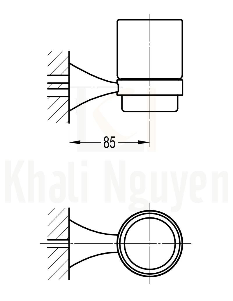 Bản Vẽ kệ cốc Flova FH 8956
