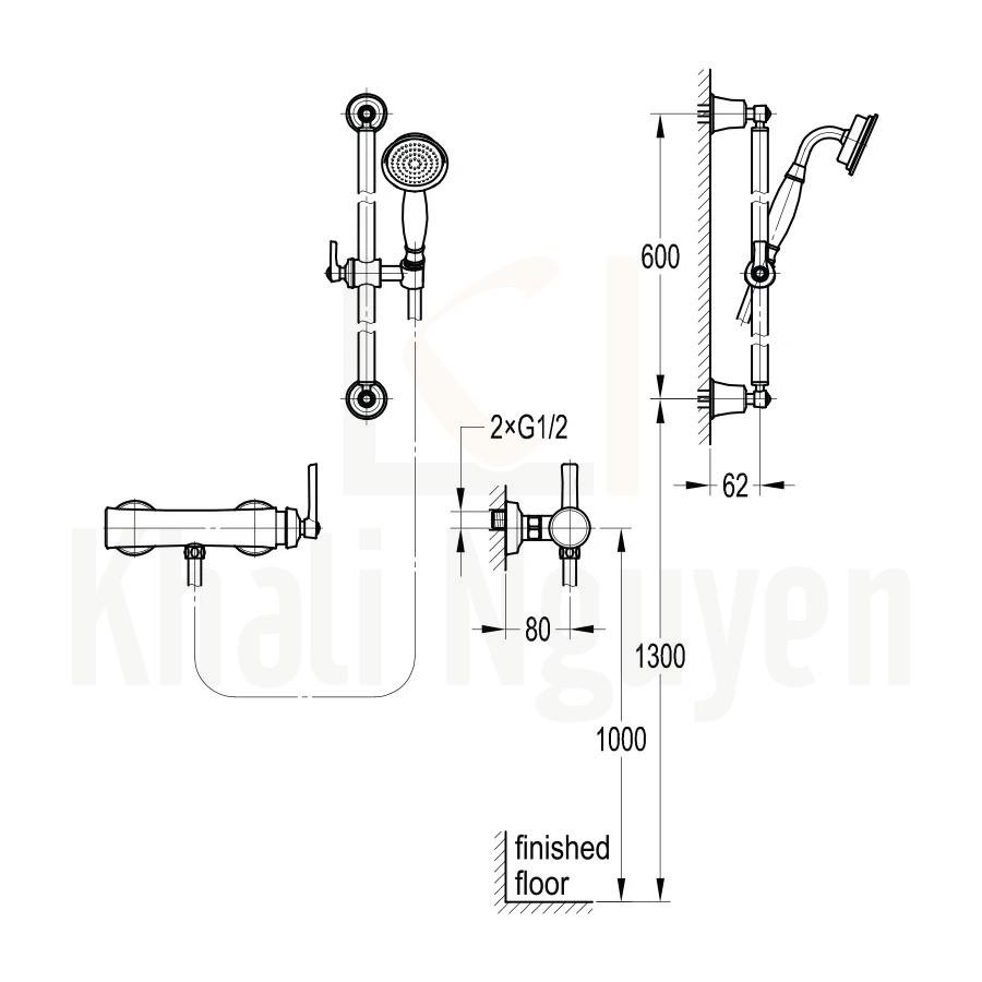 Bản Vẽ Sen Tắm Flova FH 7609-D100-9509-568 Nóng Lạnh