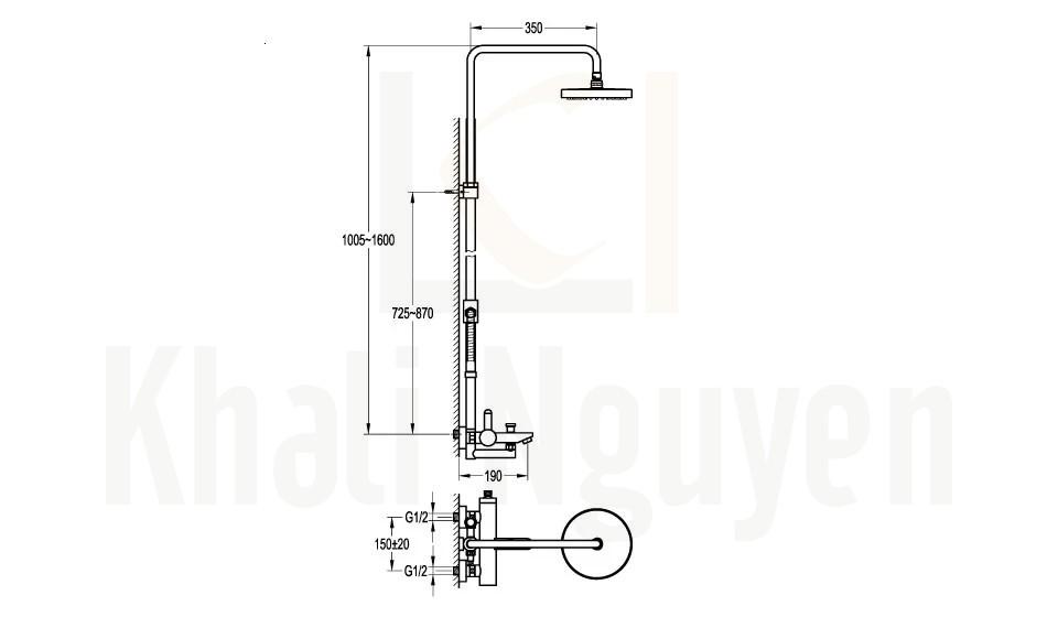 Bản Vẽ Sen Tắm Cây Flova FH 7108-D127-PB