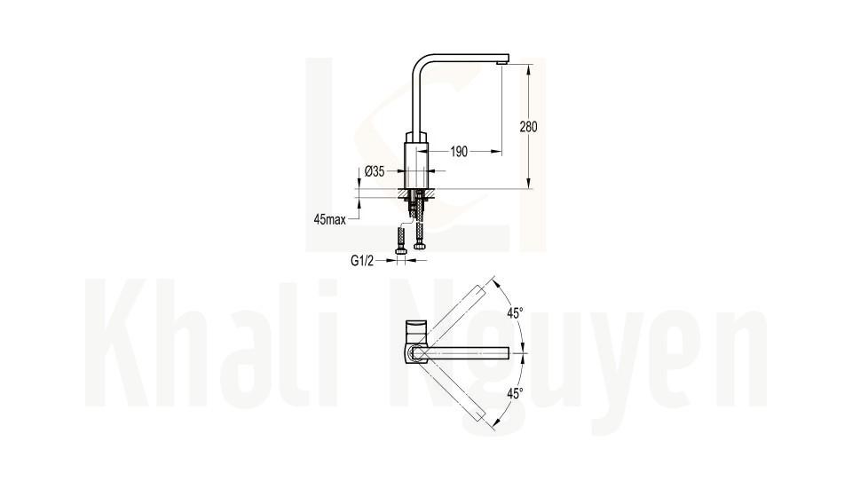 Bản Vẽ Kỹ Thuật Vòi Bếp Flova FH 8769-D57