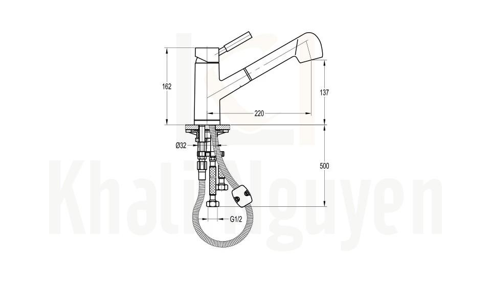 Bản Vẽ Vòi Rửa Bát Flova FH 8780-D19 Đầu Rút Dây