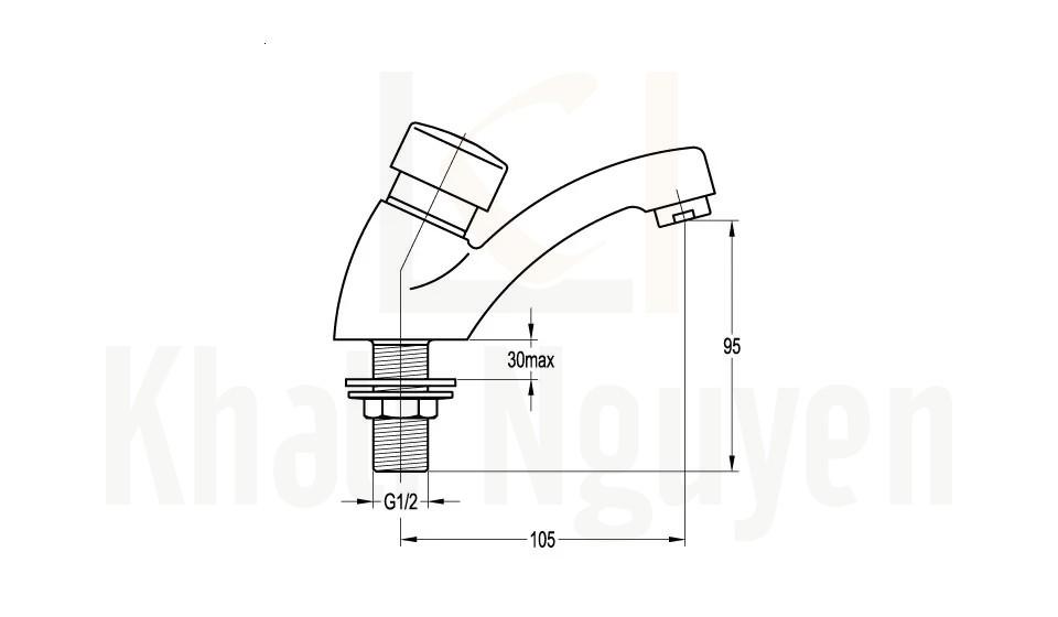Bản Vẽ Vòi Lavabo Cảm Ứng Flova FH 2061