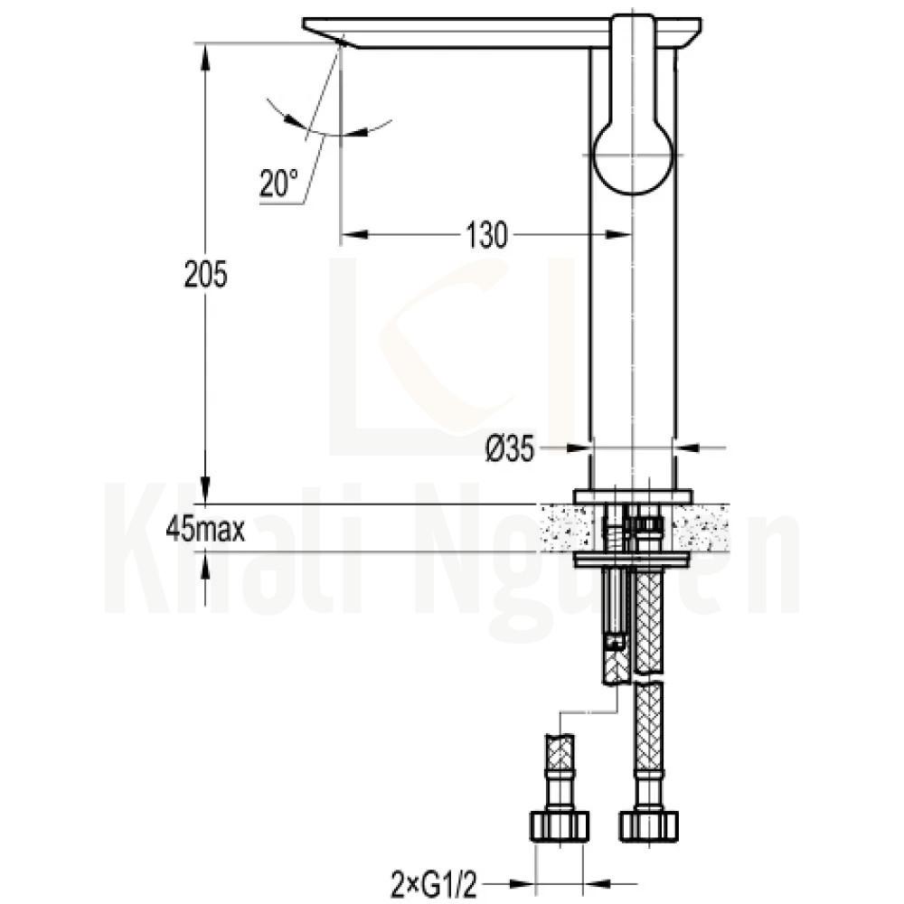 Bản vẽ Vòi Lavabo Flova 1 Lỗ FH 8205A-D108 Nóng Lạnh Cổ Cao