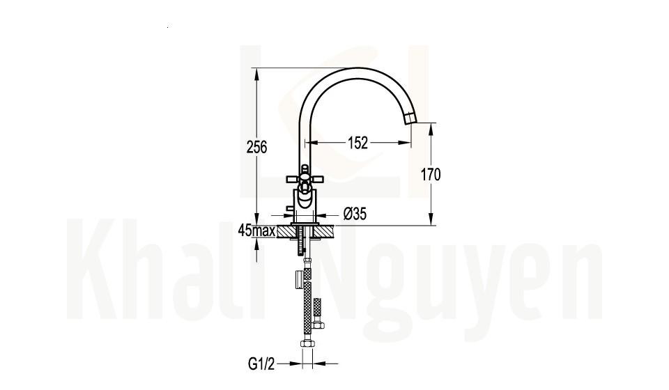 Bản Vẽ Vòi Lavabo Flova FH 8217C-617 2 Tay Xoay