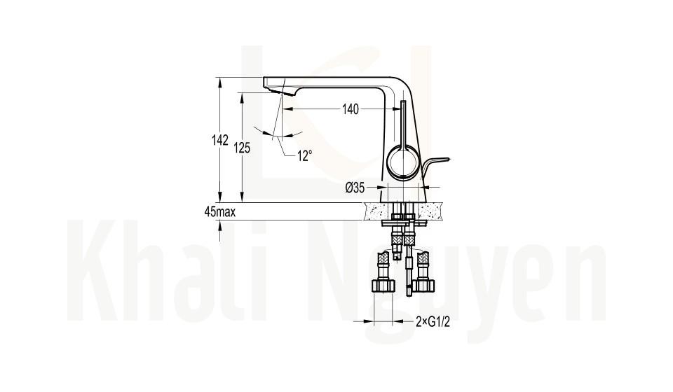 Bản Vẽ Vòi Lavabo Flova 1 Lỗ FH 8226-D111 Cổ Thấp