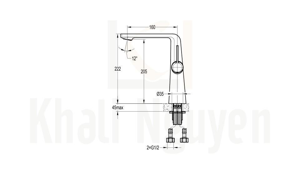 Bản Vẽ Vòi Lavabo Flova FH 8226-D111