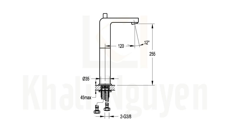 Bản Vẽ Vòi Lavabo Flova 1 Lỗ FH 8227B-D37 Nóng Lạnh Cổ Cao