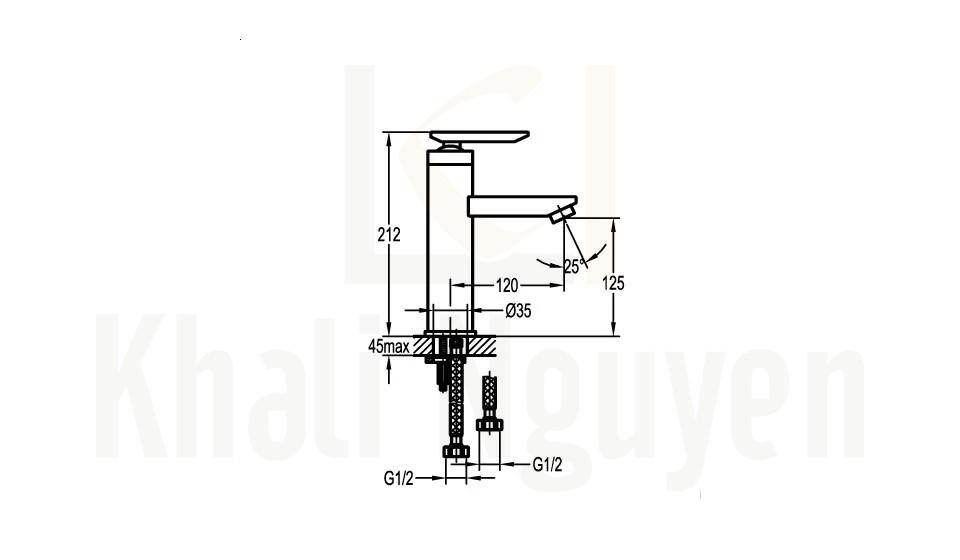 Bản Vẽ Vòi Lavabo Flova 1 Lỗ FH 8262-D26 Nóng Lạnh Cổ Thấp