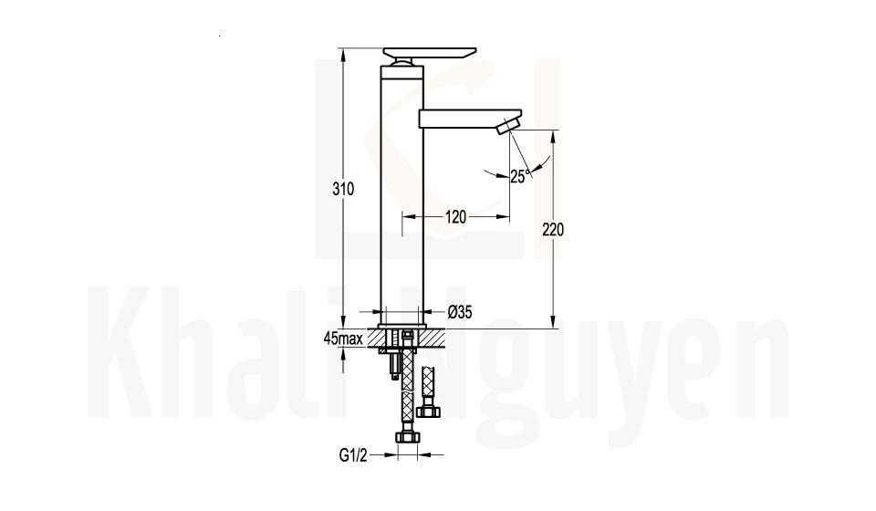 Bản Vẽ Vòi Lavabo Flova 1 Lỗ FH 8267-D26 Nóng Lạnh Cổ Cao