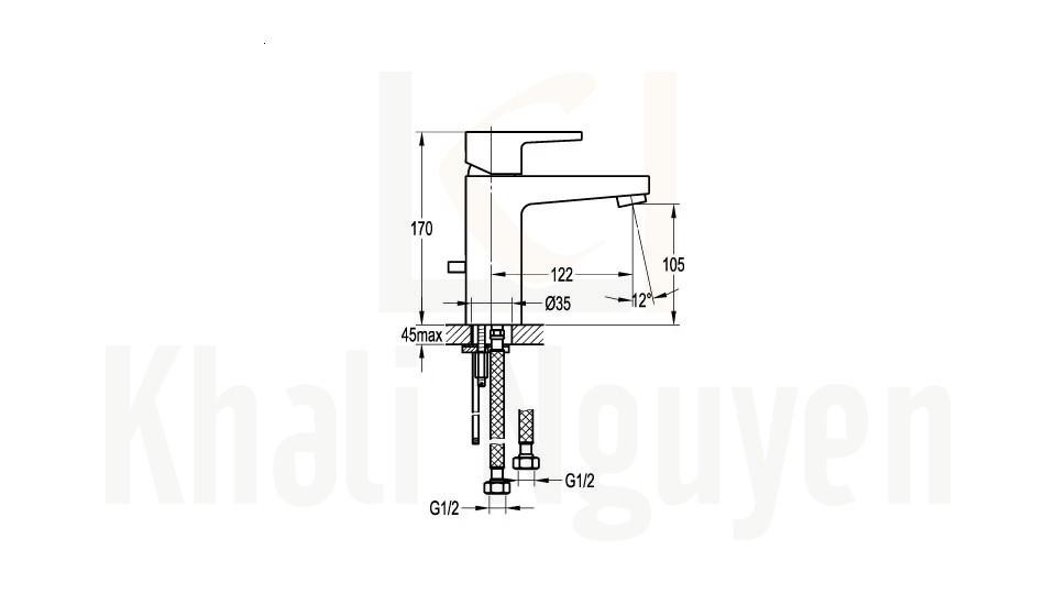 Bản vẽ Vòi Lavabo Flova 1 Lỗ FH 8269-D53 Nóng Lạnh Cổ Thấp