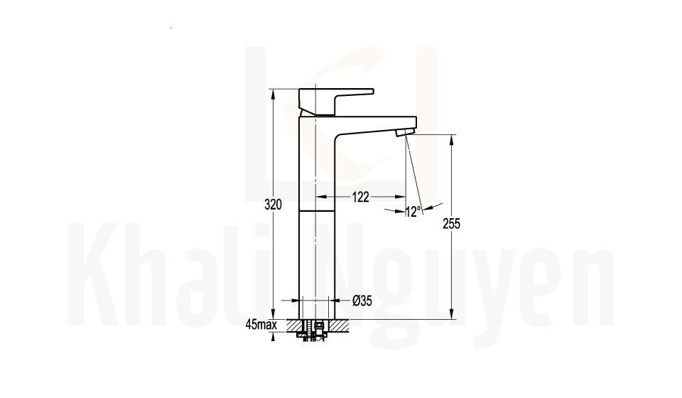 Bản Vẽ Vòi Lavabo Flova 1 Lỗ FH 8269B-D53 Nóng Lạnh Cổ Cao