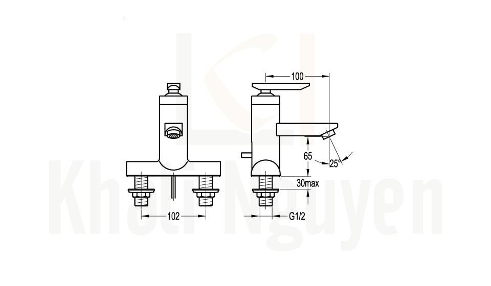 Bản Vẽ Vòi Lavabo Flova 3 Lỗ FH 8281-D25 Nóng Lạnh