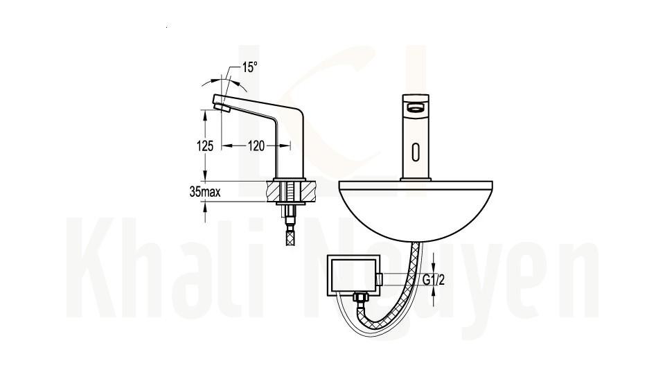 Bản Vẽ Vòi Lavabo Cảm Ứng Flova FH 9725A