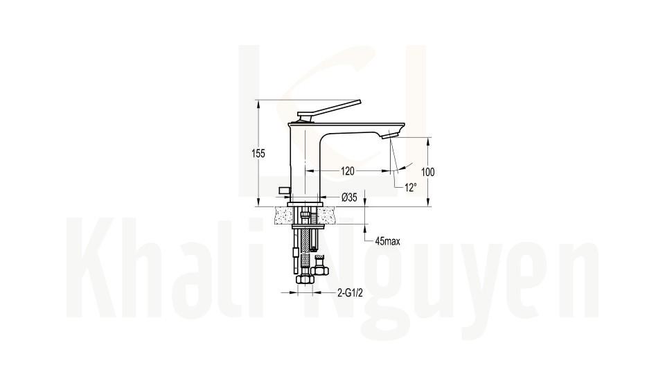 Bản Vẽ Vòi Lavabo Flova 1 Lỗ FH 9801-D95 Nóng Lạnh Cổ Thấp