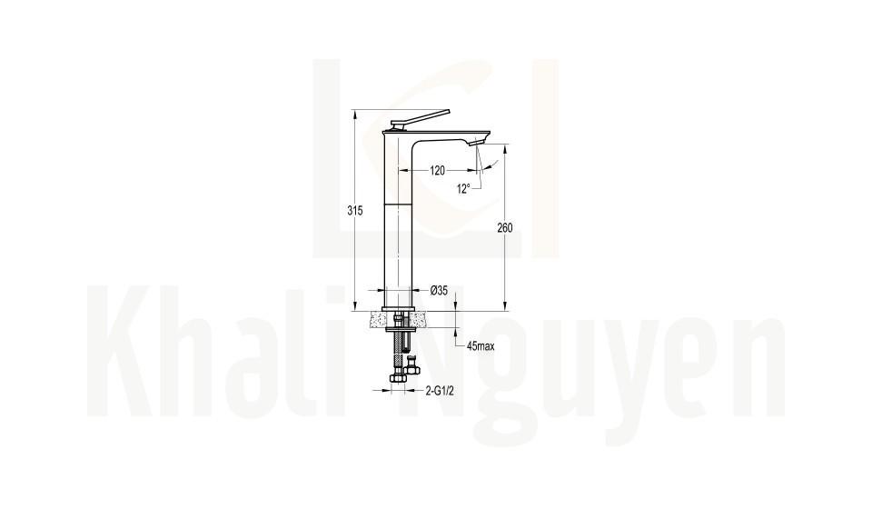 Bản Vẽ Vòi Lavabo Flova 1 Lỗ FH 9801B-D95 Nóng Lạnh Cổ Cao