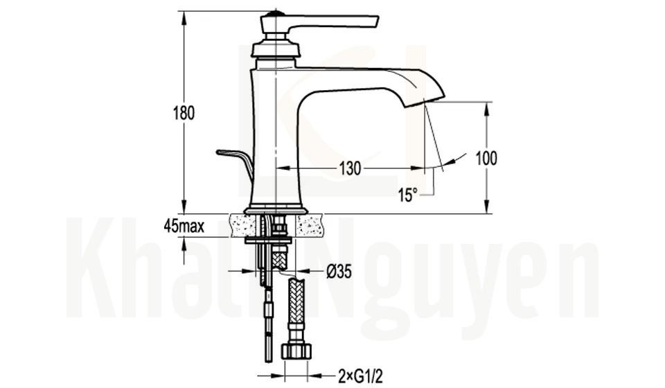 Bản Vẽ Vòi Lavabo Flova 1 Lỗ FH 9809-D100 Nóng Lạnh Cổ Thấp