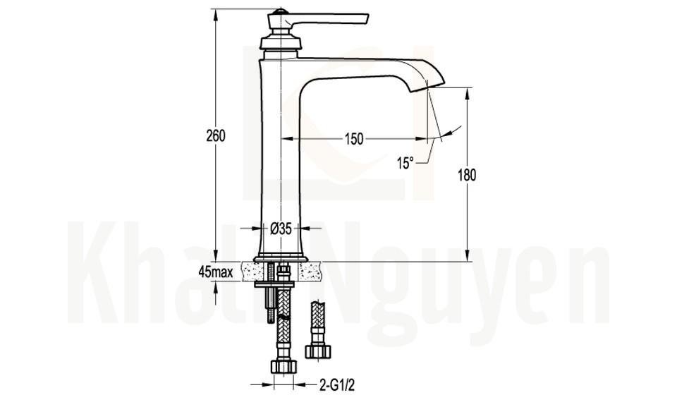 Bản Vẽ Vòi Lavabo Flova 1 Lỗ FH 9809A-D100 Nóng Lạnh Cổ Cao