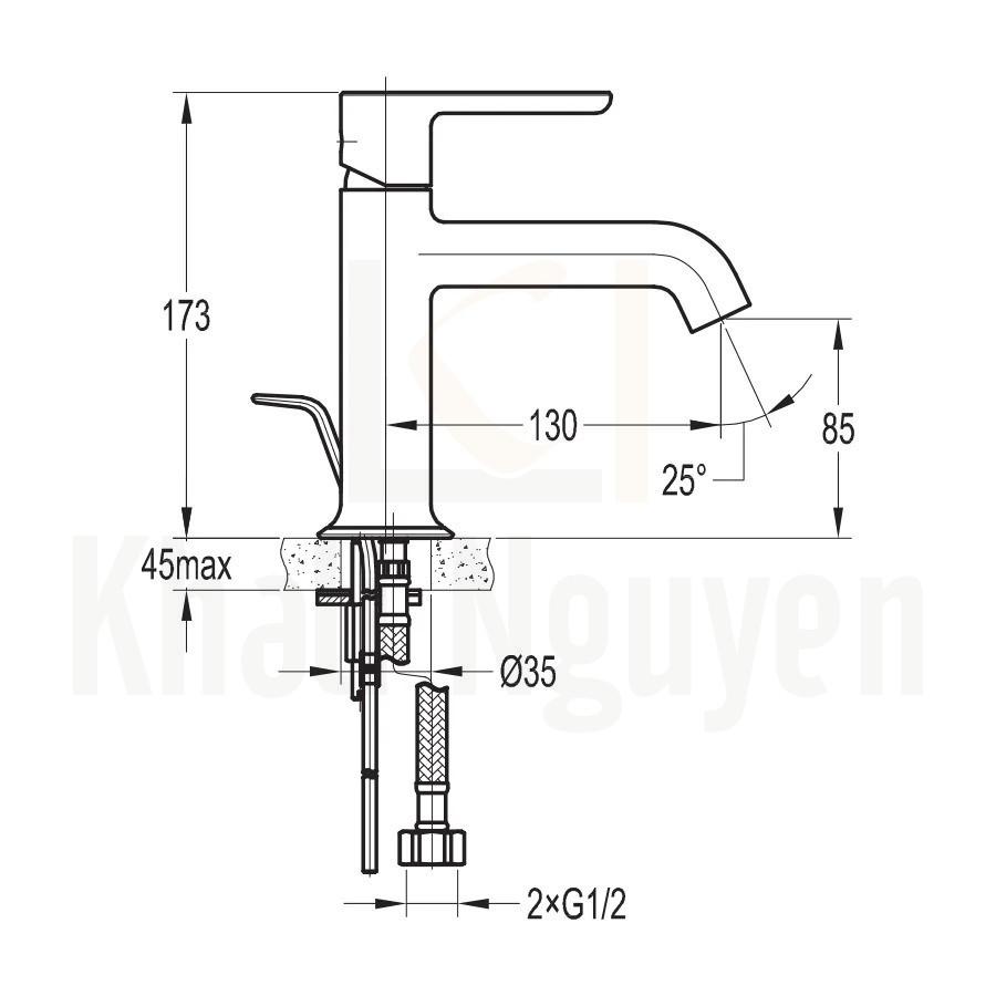 Bản Vẽ Vòi Lavabo Flova 1 Lỗ FH 9865-D125 Nóng Lạnh Cổ Thấp