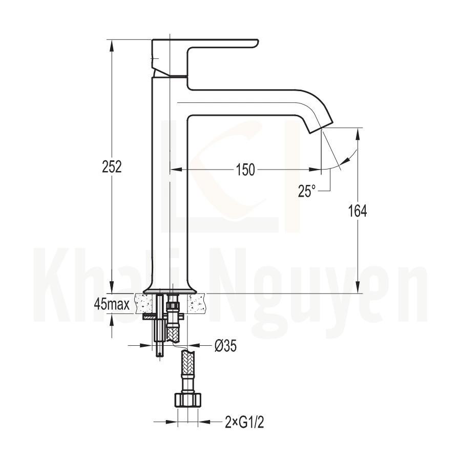 Bản Vẽ Vòi Lavabo Flova 1 Lỗ FH 9865A-D125-PB Nóng Lạnh Cổ Cao