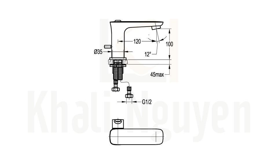 Bản Vẽ Vòi Lavabo Flova 1 Lỗ FH 9883-D79 Nóng Lạnh Cổ Thấp