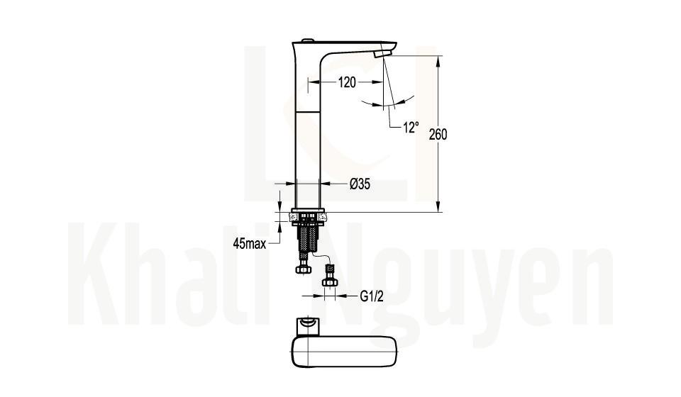 Bản Vẽ Vòi Lavabo Flova 1 Lỗ FH 9883B-D79 Nóng Lạnh Cổ Cao