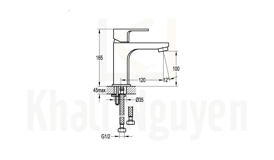 Bản Vẽ Vòi Lavabo Flova 1 Lỗ FH 9889-D75 Nóng Lạnh Cổ Thấp