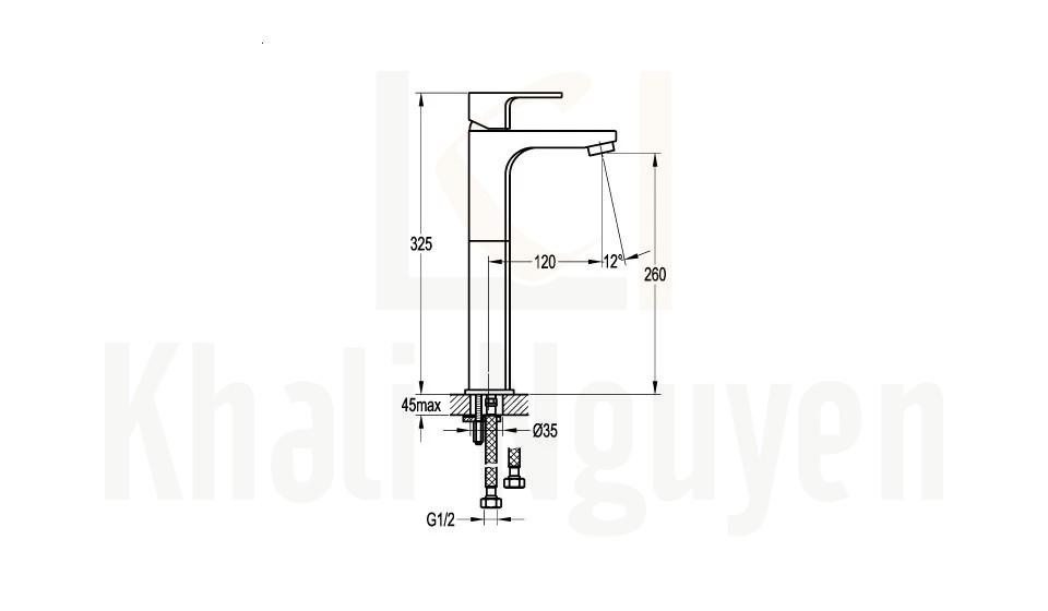 Bản Vẽ Vòi Lavabo Flova 1 Lỗ FH 9889B-D75 Nóng Lạnh Cổ Cao