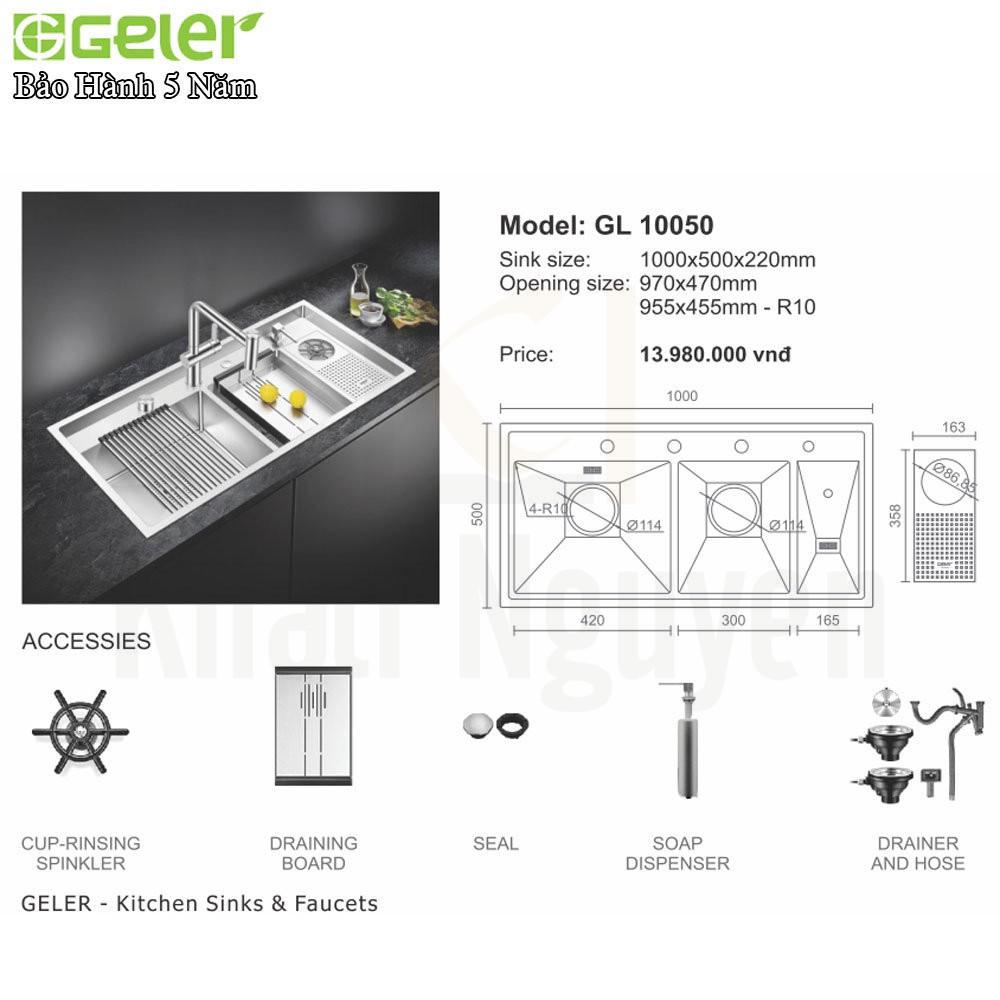 Bản vẽ kỹ thuật Chậu rửa bát Inox Geler GL-10050