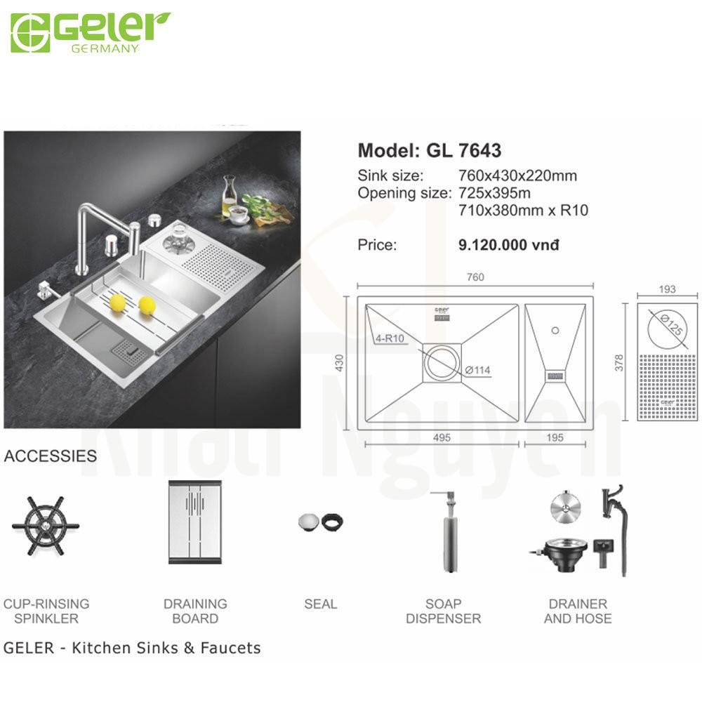 Bản vẽ kỹ thuật chậu rửa bát Inox Geler GL-7643