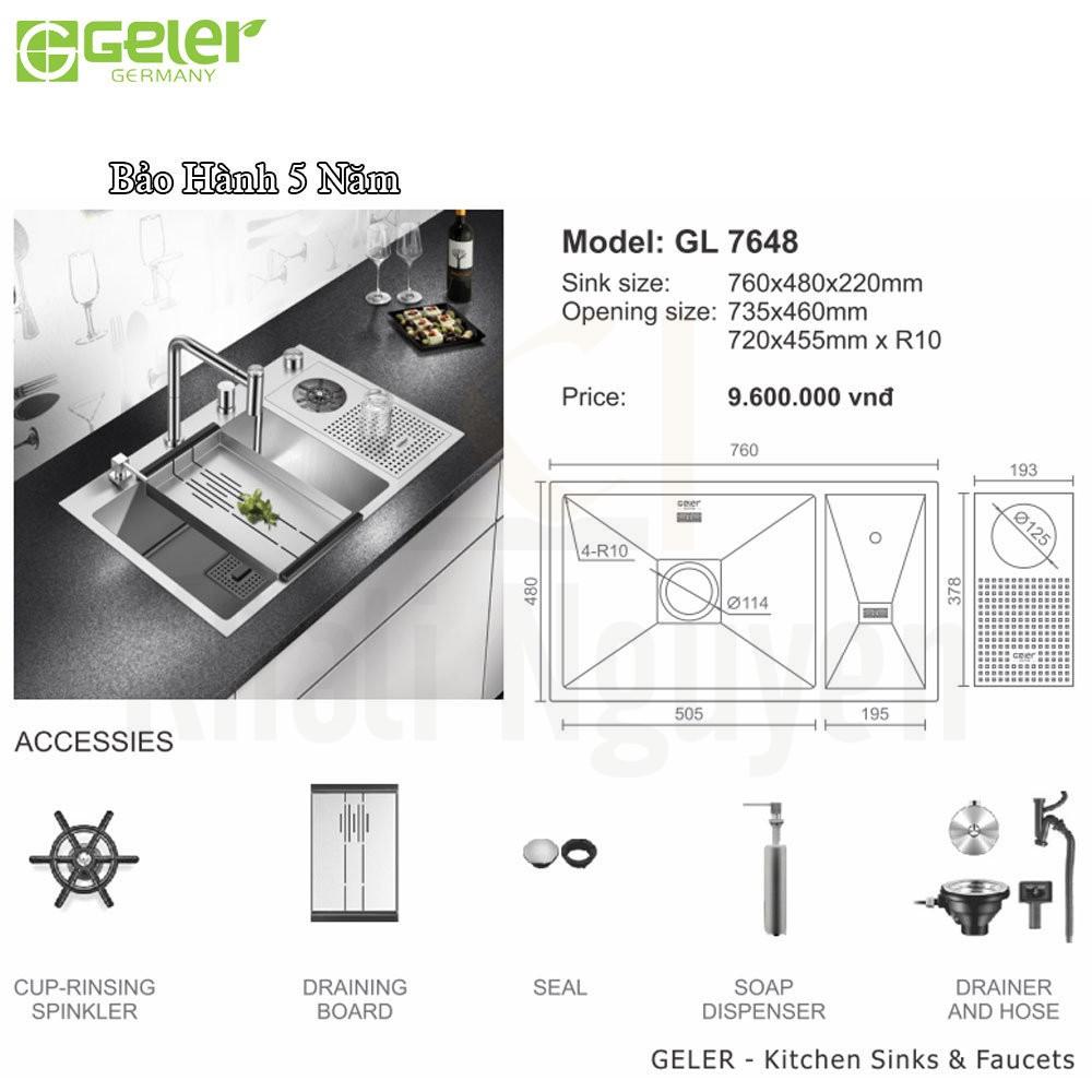 Bản vẽ kỹ thuật chậu rửa bát Inox Geler GL-7648