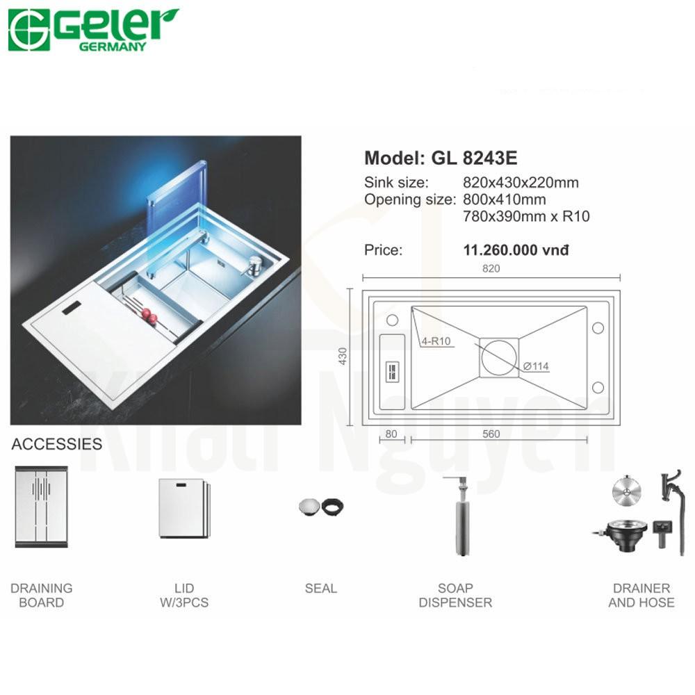 Bản vẽ kỹ thuật chậu rửa bát Inox Geler GL-8243E