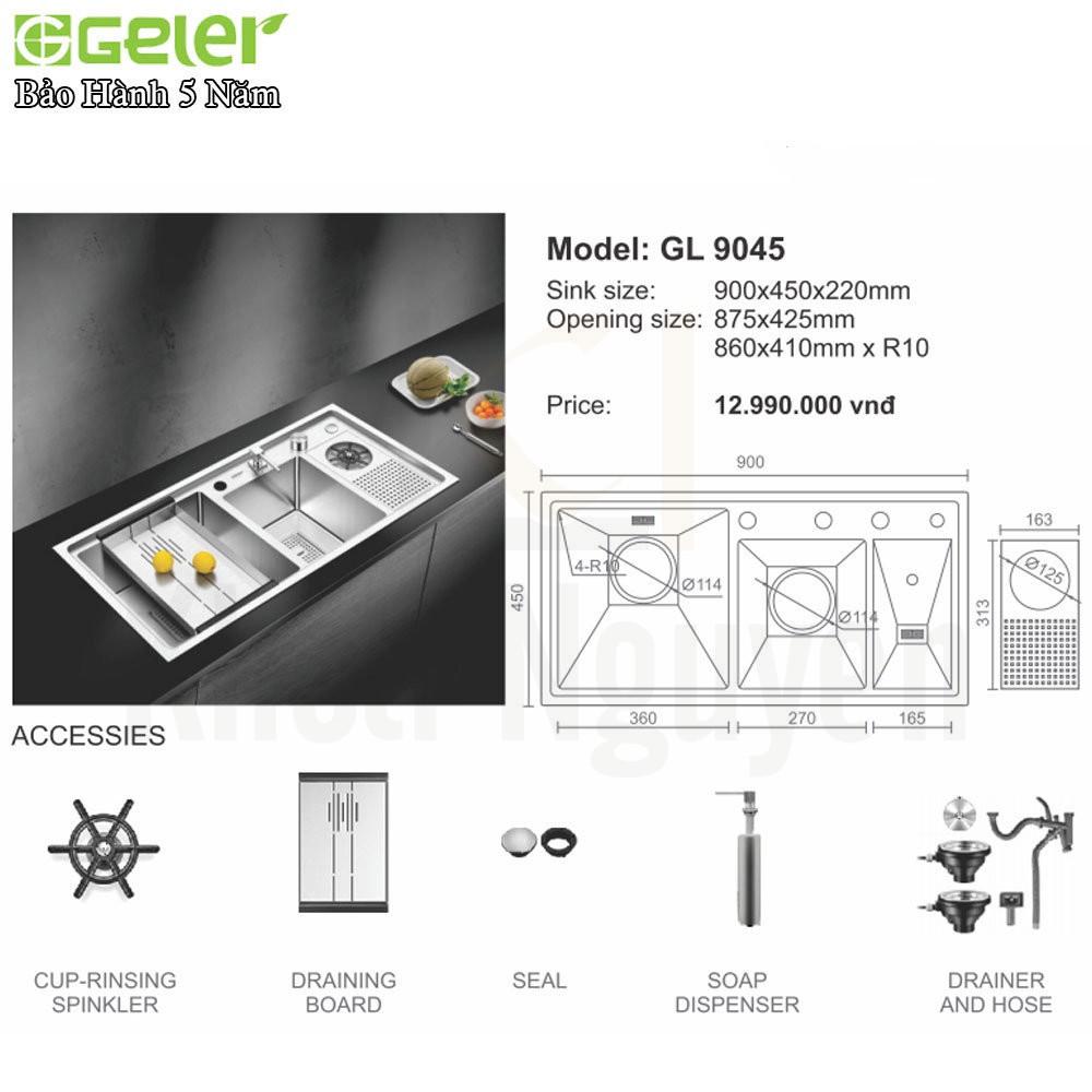 Bản vẽ kỹ thuật chậu rửa bát Inox Geler GL-9045
