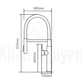 Bản vẽ kỹ thuật vòi bếp nóng lạnh Geler GL3054