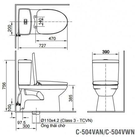 Bản vẽ kỹ thuật INAX AC-504A/CW-H18VN