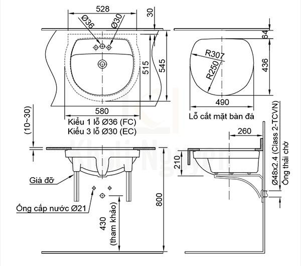Bản vẽ kỹ thuật chậu lavabo AL-2094V