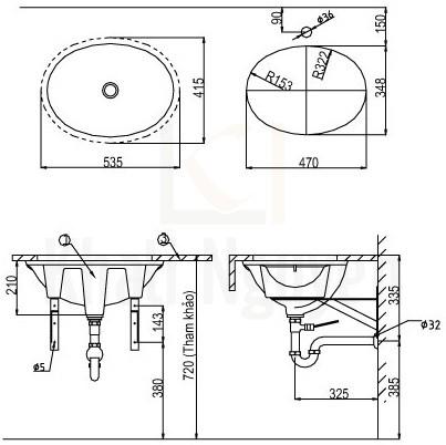 Bản Vẽ Chậu Rửa Lavabo Inax AL-2293 Âm Bàn Aqua Ceramic