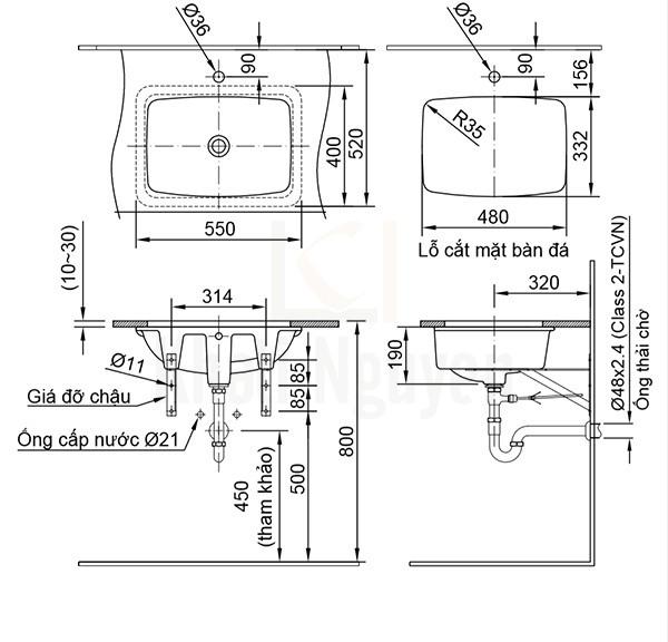 Bản Vẽ Chậu Rửa Lavabo Inax AL-2298V Âm Bàn AquaCeramic
