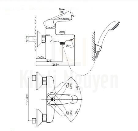 Bản vẽ kỹ thuật Inax BFV-1113S-4C