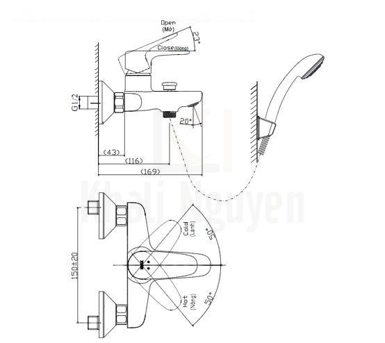 Bản vẽ kỹ thuật Inax BFV-1113S-8C