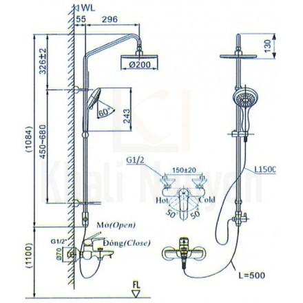 Bản vẽ kỹ thuật Inax BFV-1405S