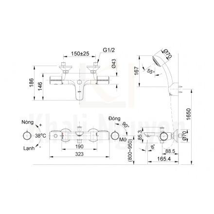 Bản vẽ kỹ thuật Inax BFV-3413T-4C