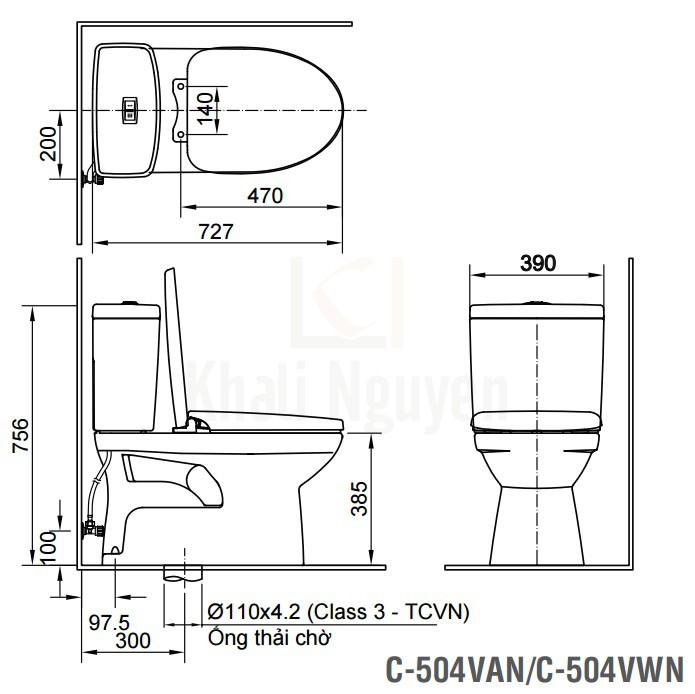 Bản Vẽ Bồn Cầu INAX C-504VAN Hai Khối Nắp Êm