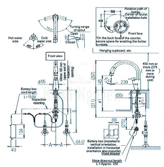 Bản Vẽ Vòi Bếp Cảm Ứng Inax JF-NB454SX