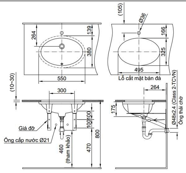 Bản vẽ kỹ thuật Inax L-2216V