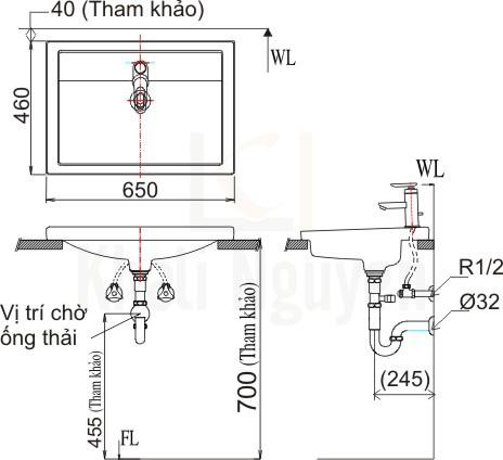 Bản vẽ kỹ thuật Inax L-2397V