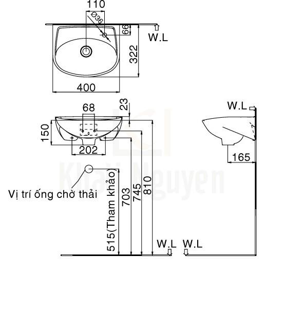 Bản Vẽ Chậu Rửa Lavabo Inax L-280V Treo Tường Cỡ Nhỏ