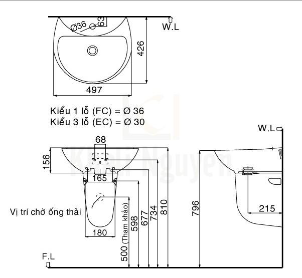 Bản Vẽ Lavabo Treo Tường Inax L-285V/L-288VC Kèm Chân Ngắn