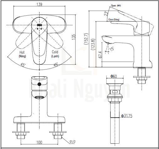 Bản vẽ kỹ thuật Inax LFV-1111S