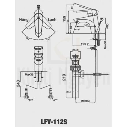 Bản vẽ kỹ thuật Inax LFV-112S