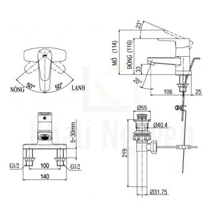 Bản vẽ kỹ thuật Inax LFV-1201S-1